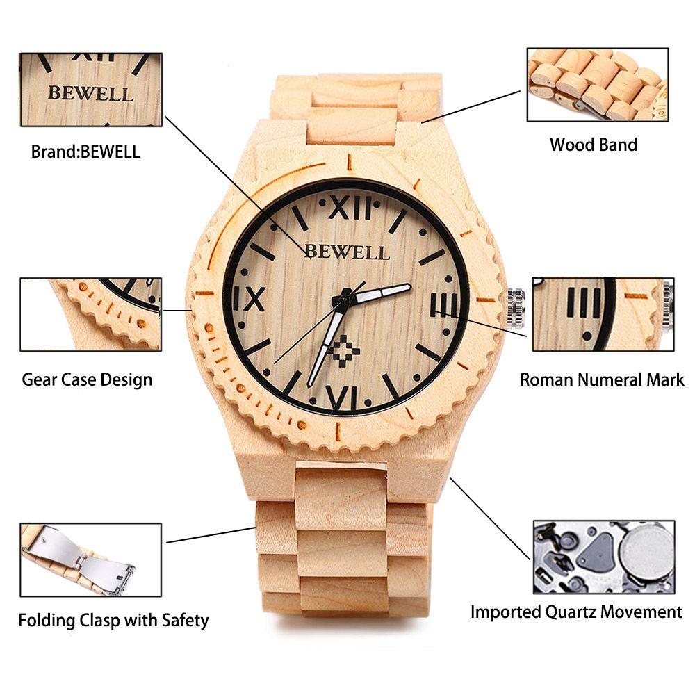 Bewell ZS - W065A Wood Men Quartz Watch Roman Numeral Scales