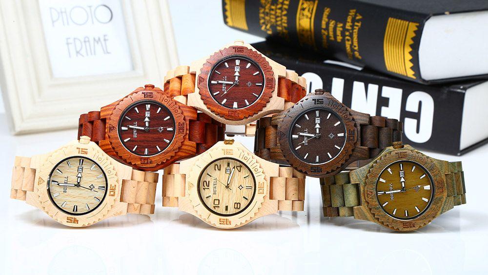 Bewell ZS-W023B Wooden Quartz Watch for Men Date Display Luminous Pointers
