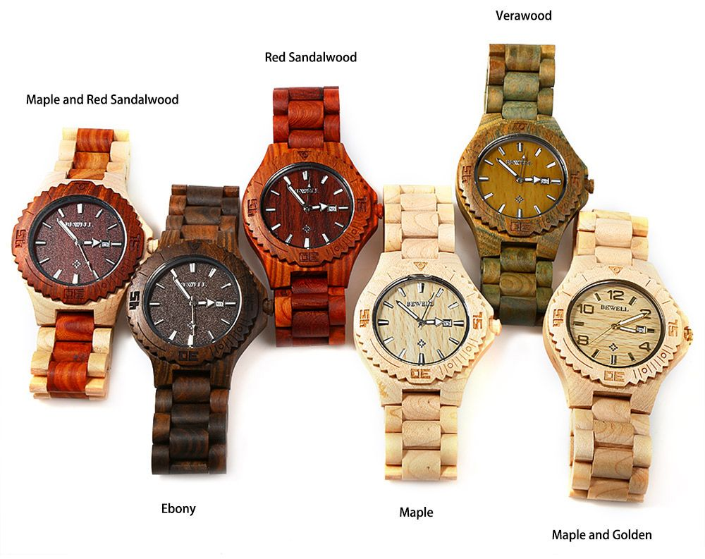 Bewell ZS-W023B Wooden Quartz Watch for Men Date Display Luminous Pointers