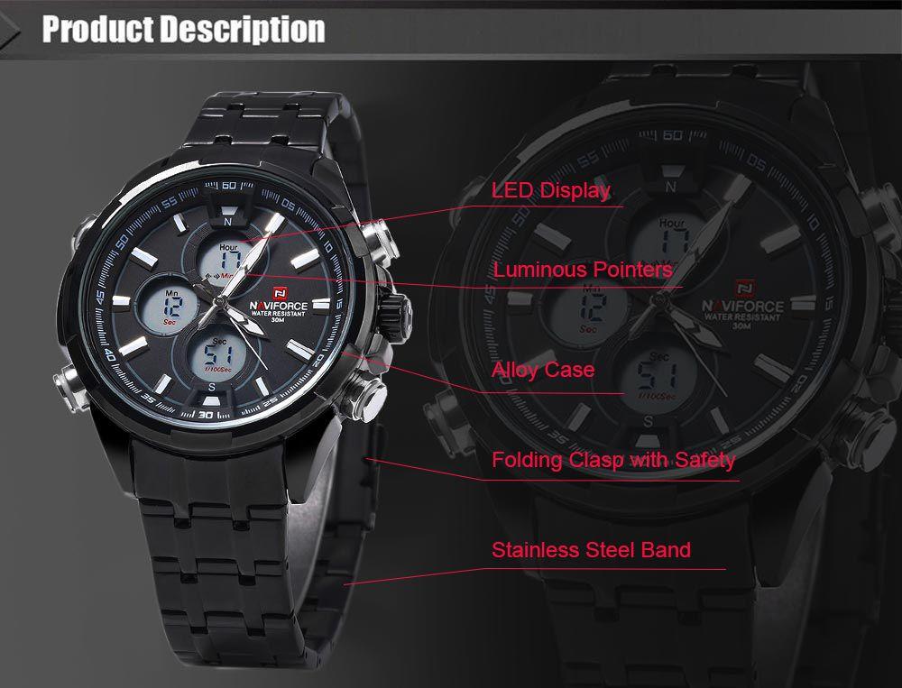 Naviforce 9049 Men Quartz Watch LED Wristwatch 30m Water Resistance