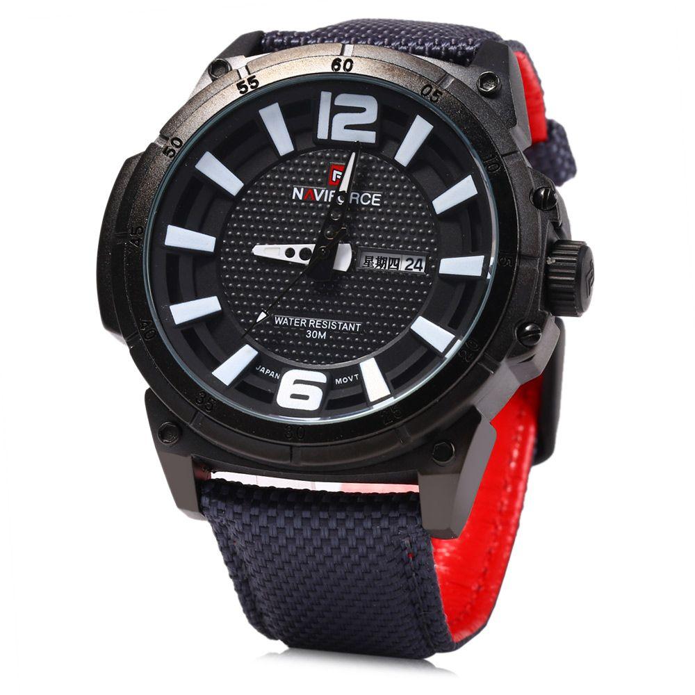 Naviforce 9066 Men Quartz Watch with Canvas Band