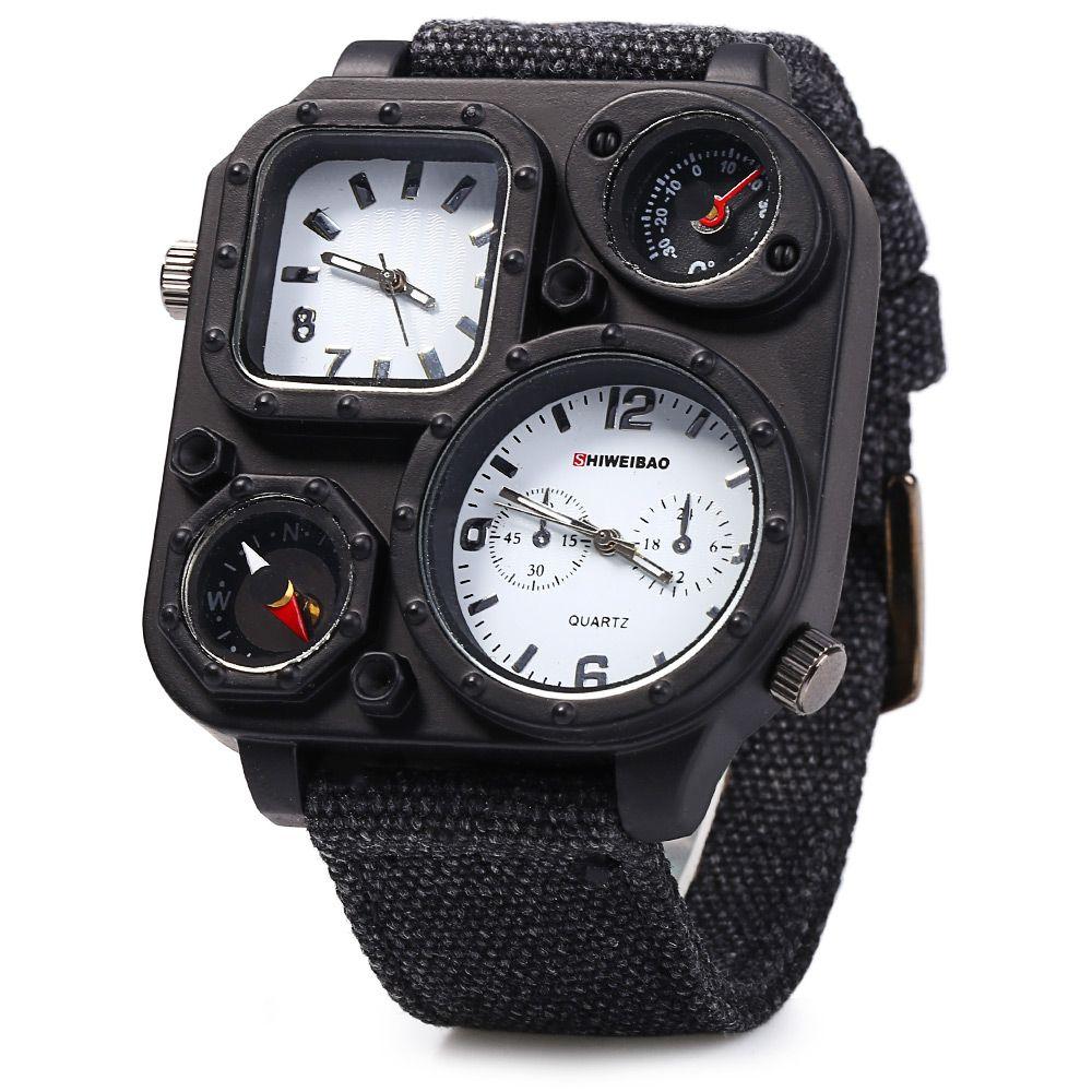 Shiweibao J1169 Dual Movt Decorative Thermometer Compass Men Quartz Watch
