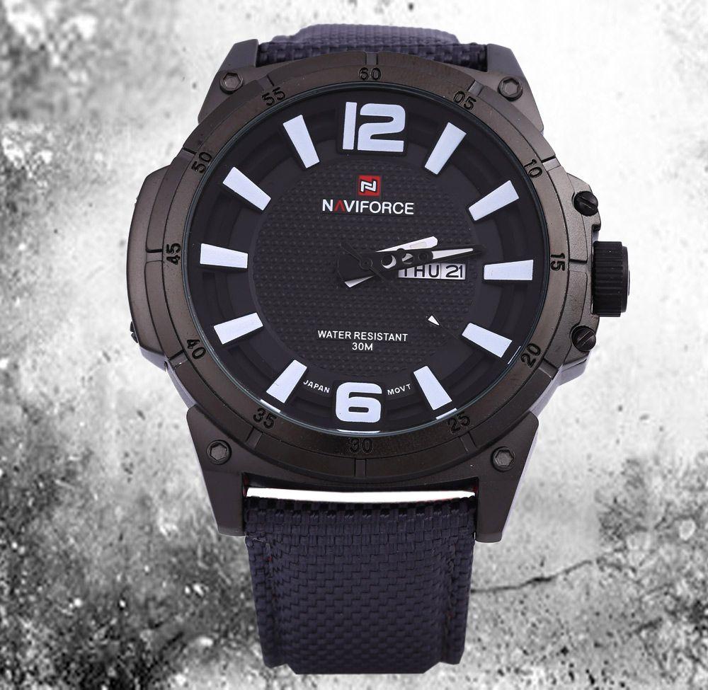 Naviforce 9066 Men Quartz Watch Nylon Strap Calendar 3D Dial Analog