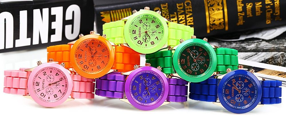 Geneva  Women Candy Color Quartz Watch with Round Dial Analog Indicate Rubber Watch Band