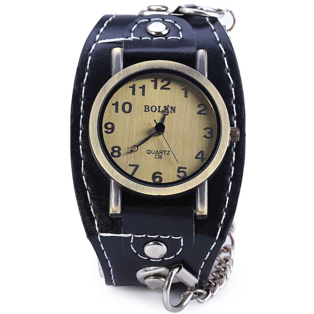 BOLUN C36 Vintage Color Dial Wide Leather Band Quartz Male Watch with Chain