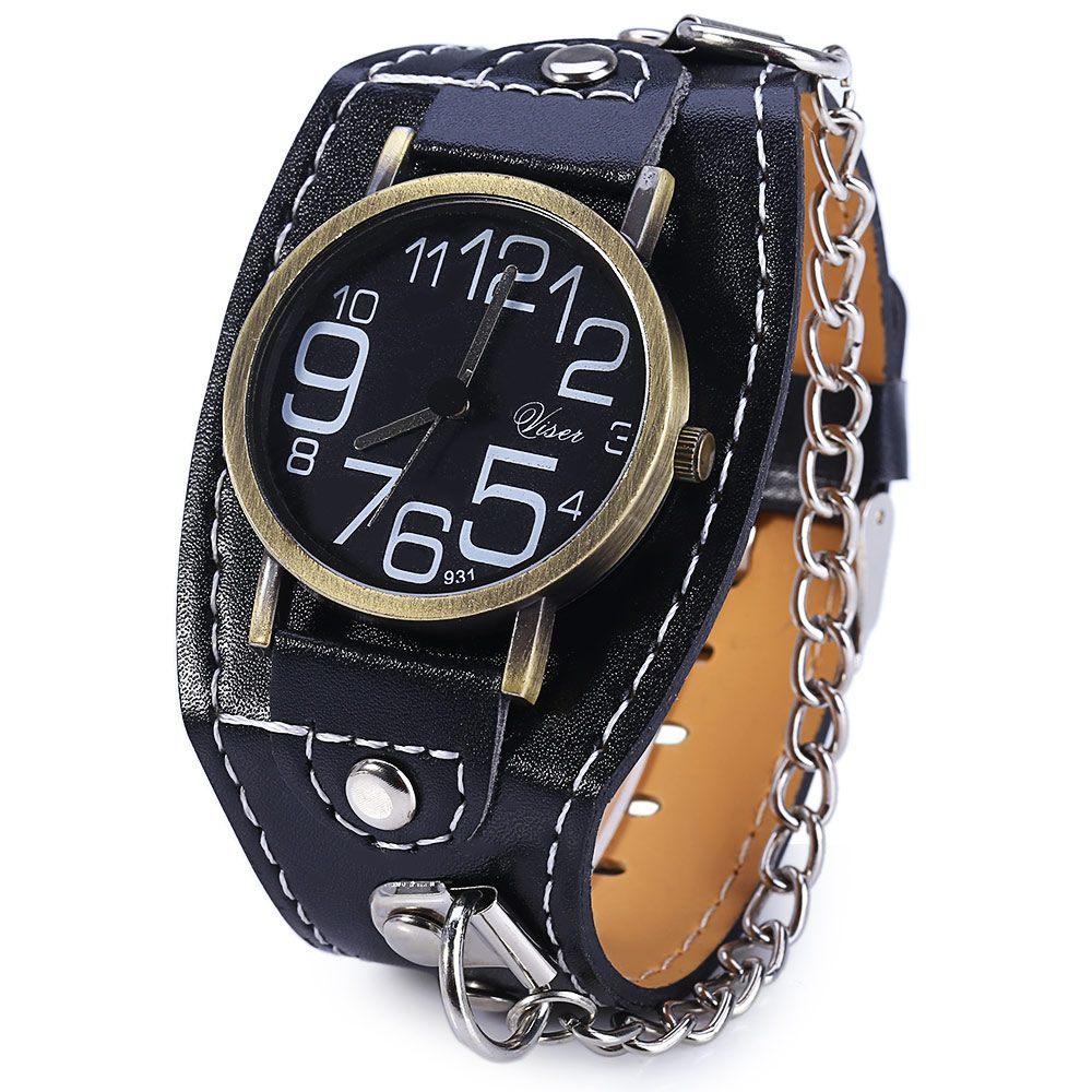 Visec 931 Big Number Wide Leather Band Quartz Male Watch with Chain