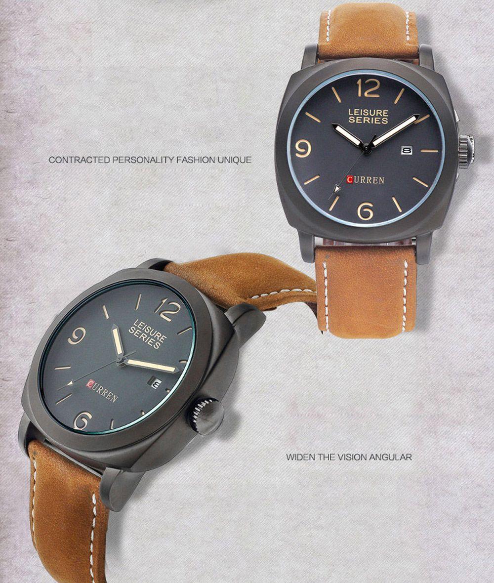 CURREN 8158 Men Quartz Watch Nubuck-leather Strap Wristwatch with Date Display