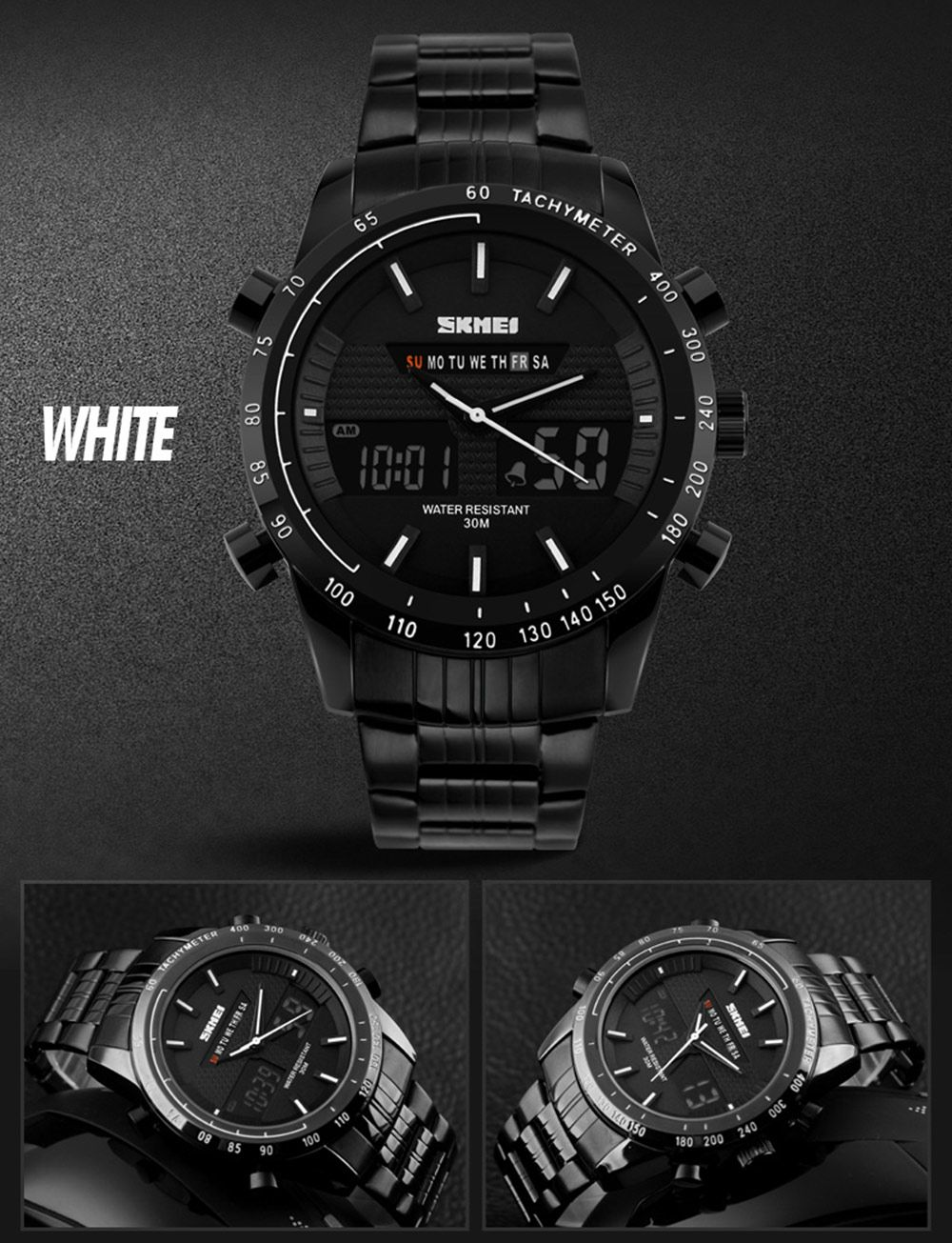 Skmei 1131 Fashion Men Business Leisure Watch Waterproof Dual Movt Time Display Wristwatch