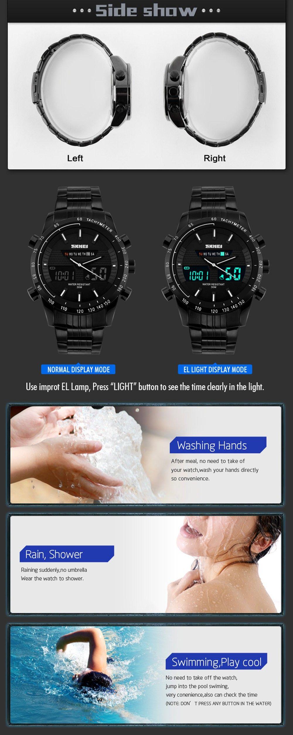 Skmei 1131 Fashion Men Business Leisure Watch Waterproof Dual Movt Time Display Wristwatch