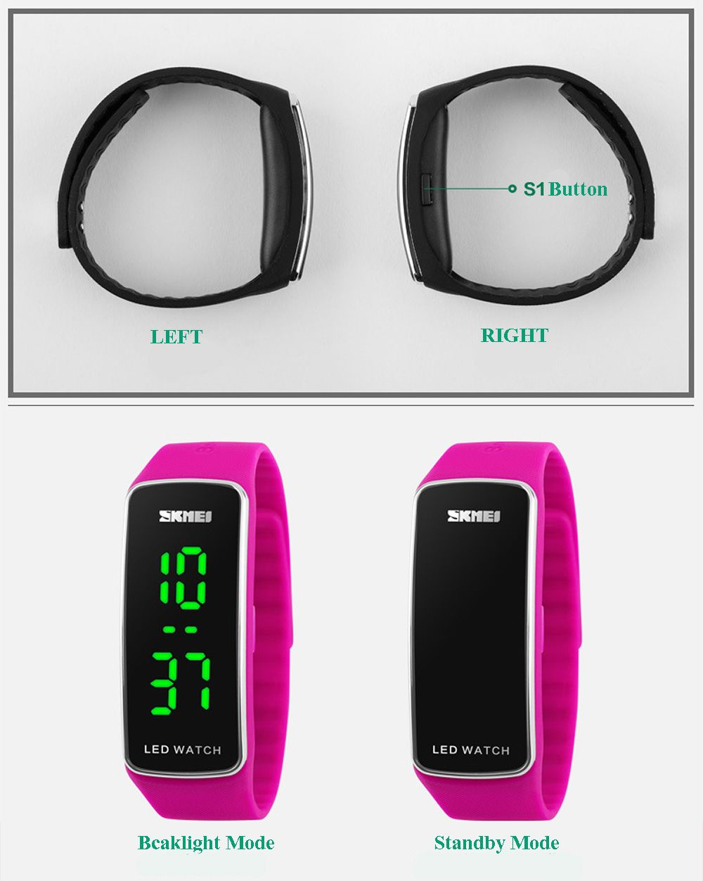Skmei 1119 LED Light Sports Watch Silicone Strap Unisex Wristwatch Water Resistance