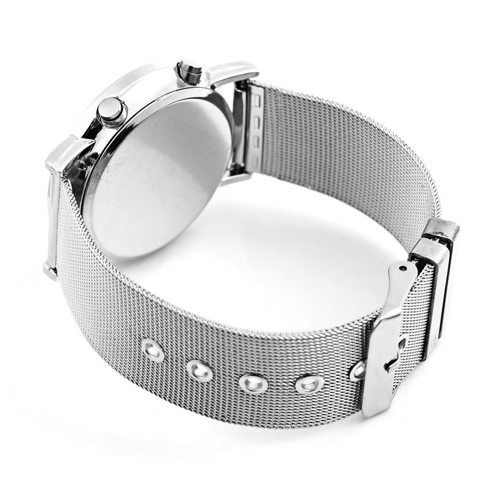 Date Day Display Round Dial Steel Net Strap LED Watch