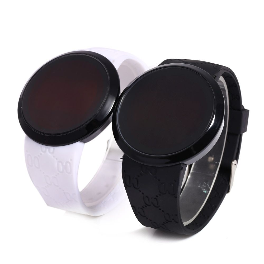 LED Watch Touch Screen Round Dial Rubber Strap for Men