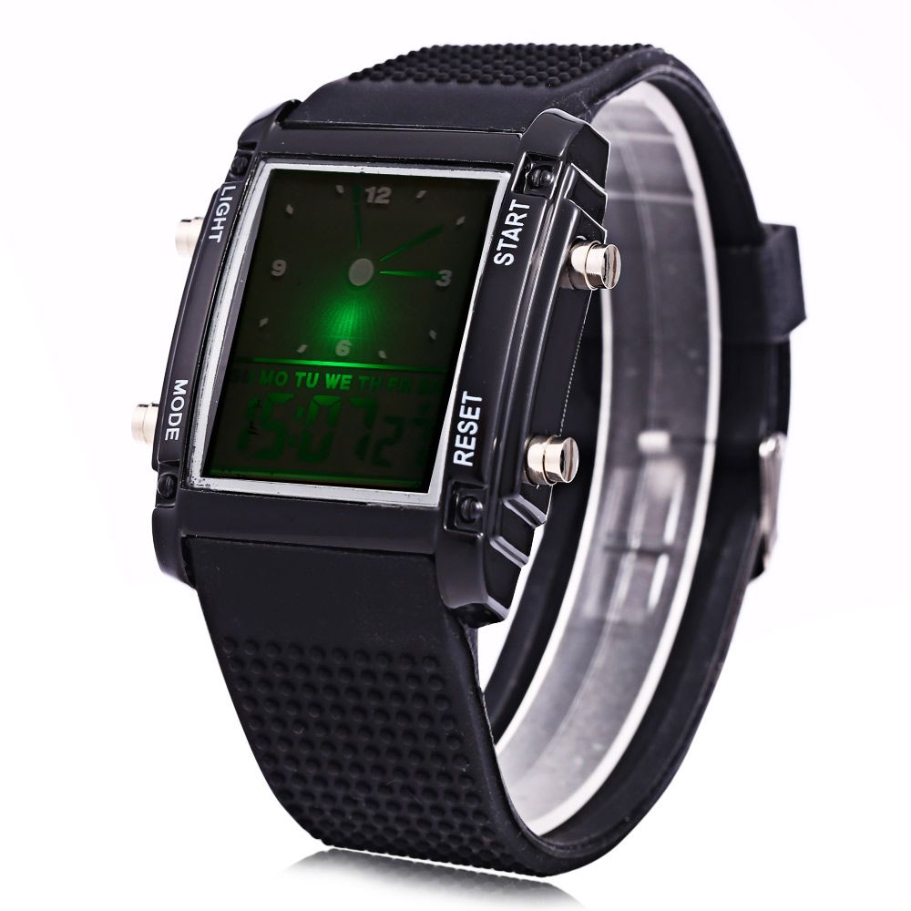 LED Sports Watch Double Movt Multi-function Wristwatch