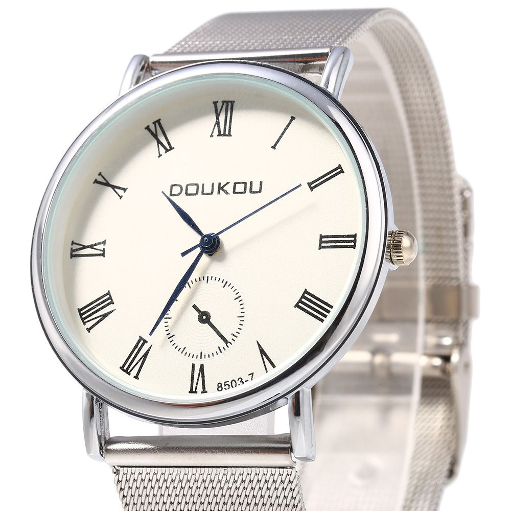 DOUKOU 8503-7 Steel Net Band Decorative Sub-dial Quartz Unisex Watch