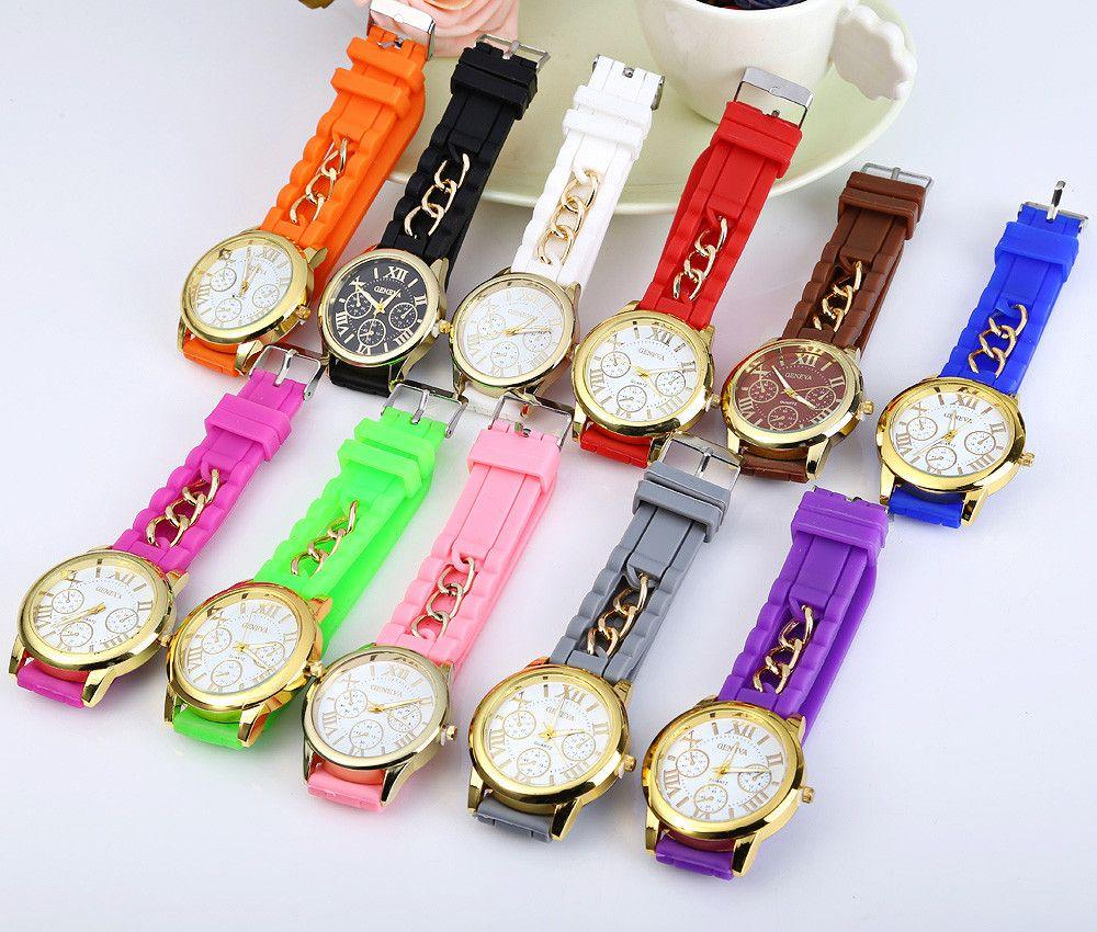 Fashional Women's Quartz Watch Silicone and Chain Wristwatch