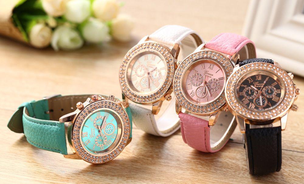Women Watch with Artificial Diamond Dial Decorative Sub-dials Quartz Wristwatch