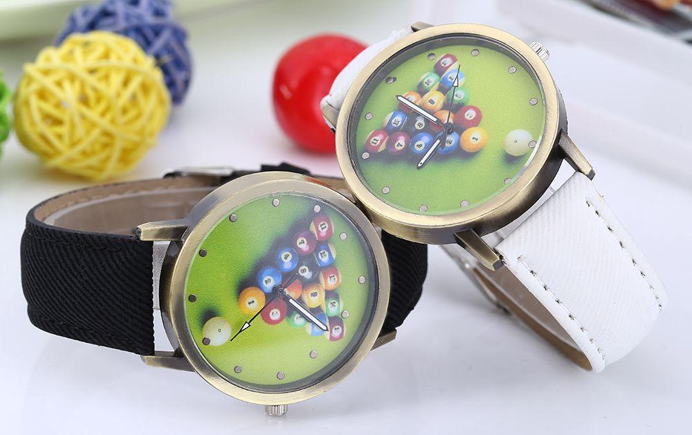 Men Women Leisure Snooker Billiard Analog Canvas Round Quartz Wrist Watch