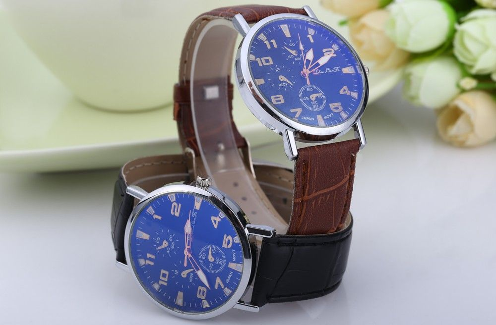 Blu-ray Glass Women Men Quartz Watch with Embossed Leather Band Decorative Sub-dial
