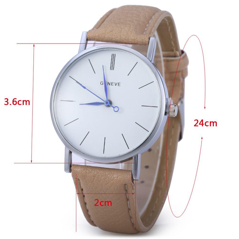 Geneva Women Men Blue Pin Leather Belt Quartz Watch with Contrast Color Decorative Sub-dial