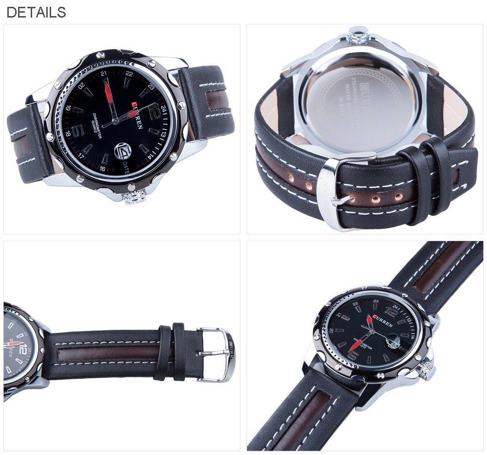 CURREN 8104 Men Quartz Watch Date Leather Band Sports Wristwatch