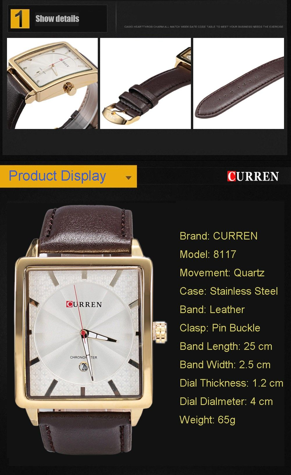 CURREN 8117 Men Quartz Watch Square Dial Wristwatch Date Display Leather Band