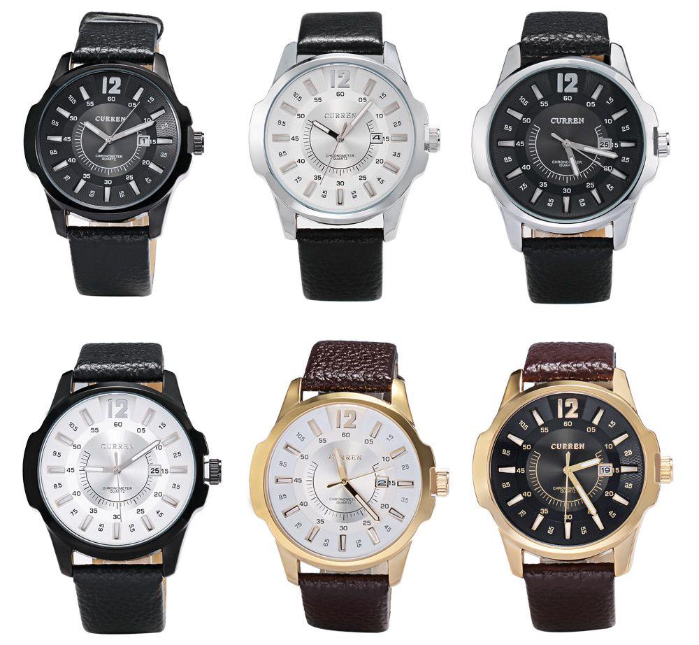 CURREN 8123 Quartz Watch Date Leather Band Analog Wristwatch for Men