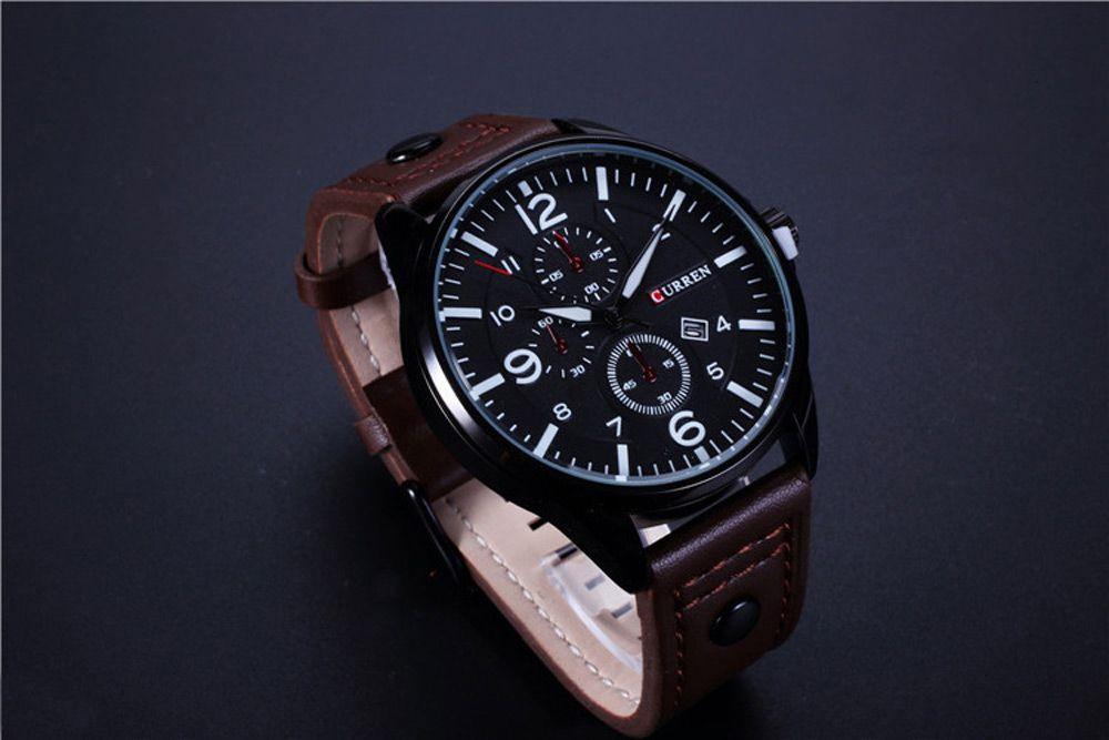CURREN 8164 Men Watch Date Leather Band Quartz Wristwatch Water Resistance