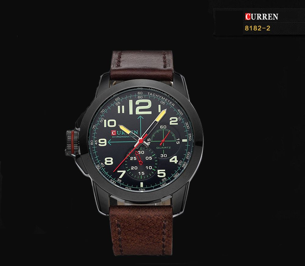 CURREN 8182B Men Quartz Watch Military Wristwatch Date Chronograph Leather Strap