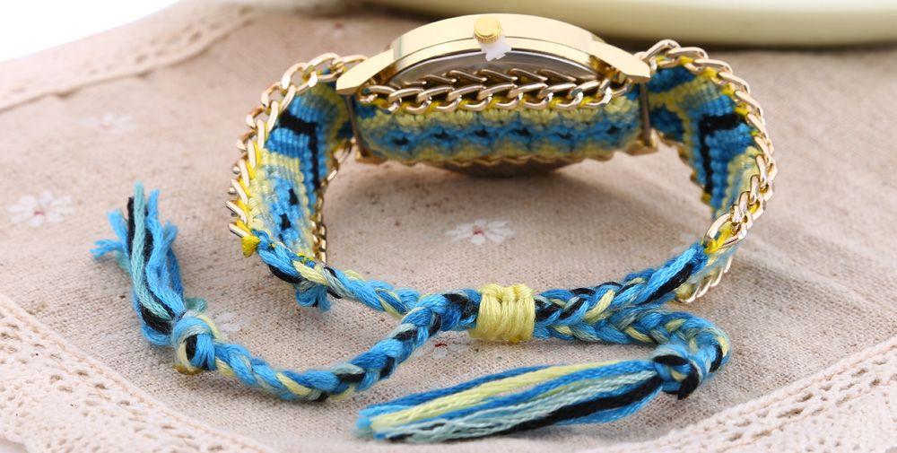 Geneva Women Weave Fabric Multicolor Band Wrist Watch