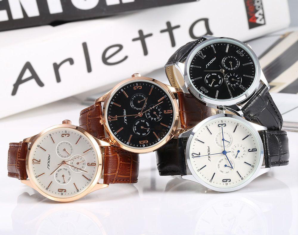 Sinobi 9546 Casual Fashion Ultra Slim Men Japan Quartz Watch Leather Strap Date Function