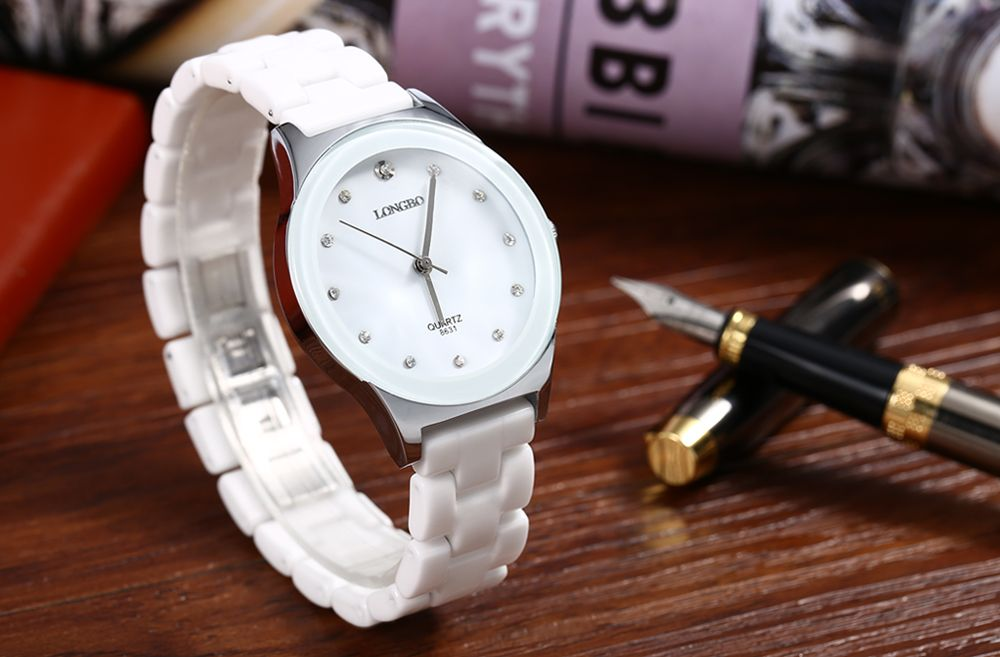 Longbo 8631 Men Ceramic Rhinestone Quartz Wrist Watch