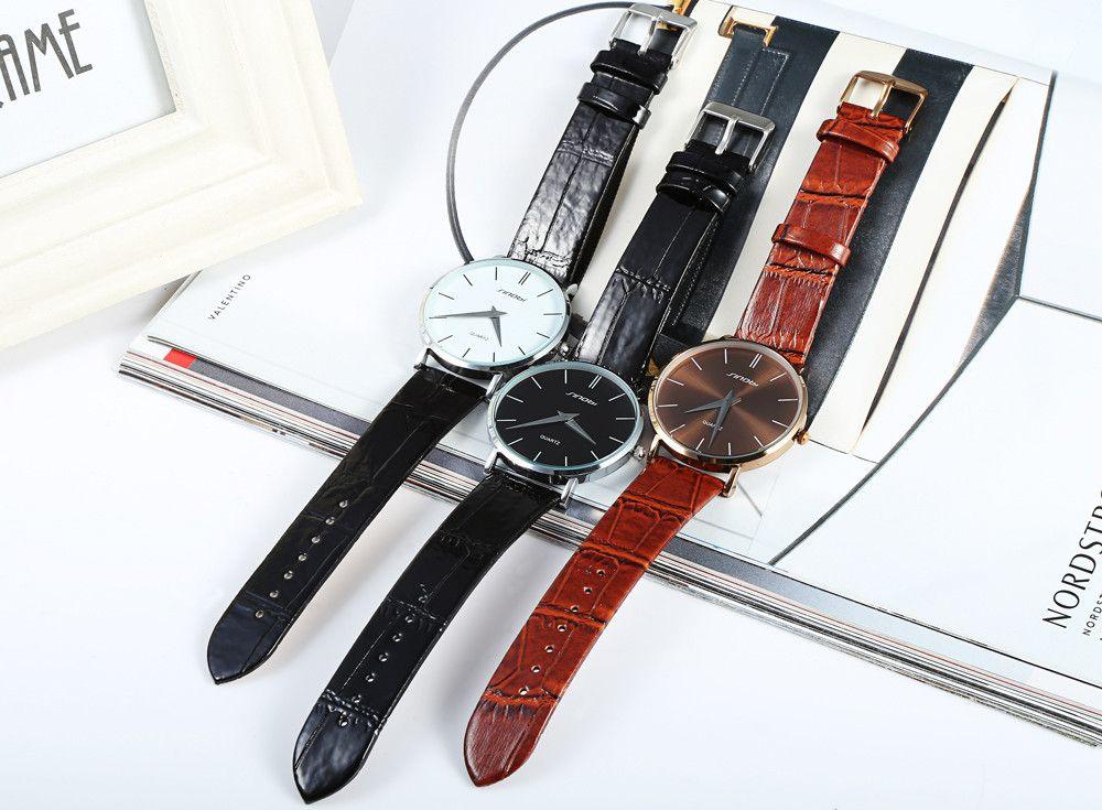 Sinobi 9140 Super Slim Business Male Japan Quartz Watch Leather Wristband Analog Dials