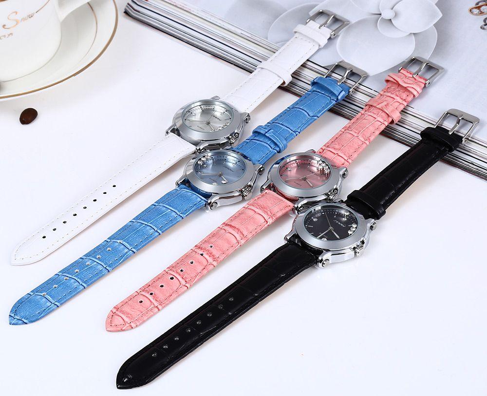 Sinobi 9276 Female Fashionable Crystal Quartz Watch Leather Strap Water Resistance