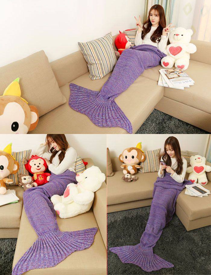 Crocheted / Knited Mermaid Tail Shape Blanket