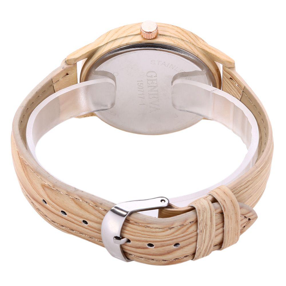Geneva 150717-1 Wood-like Women Quartz Watch Leather Band Arabic Number Scales