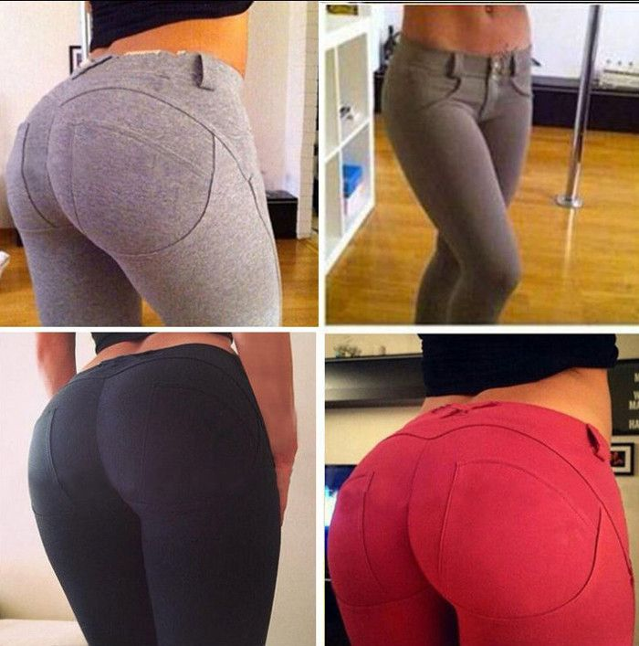 Sexy Female Slim-fitting Yoga Pencil Pants with False Pockets