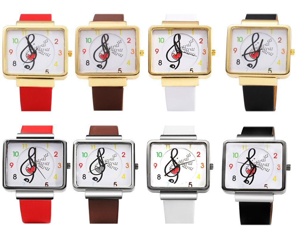 JUBAOLI 1094 Women Quart Watch Note Decoration Arabic Number Scale Leather Band