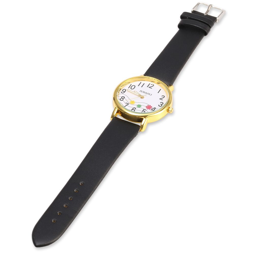 JUBAOLI 1091 Women Quart Watch Flower Decoration Arabic Number Scale Leather Band