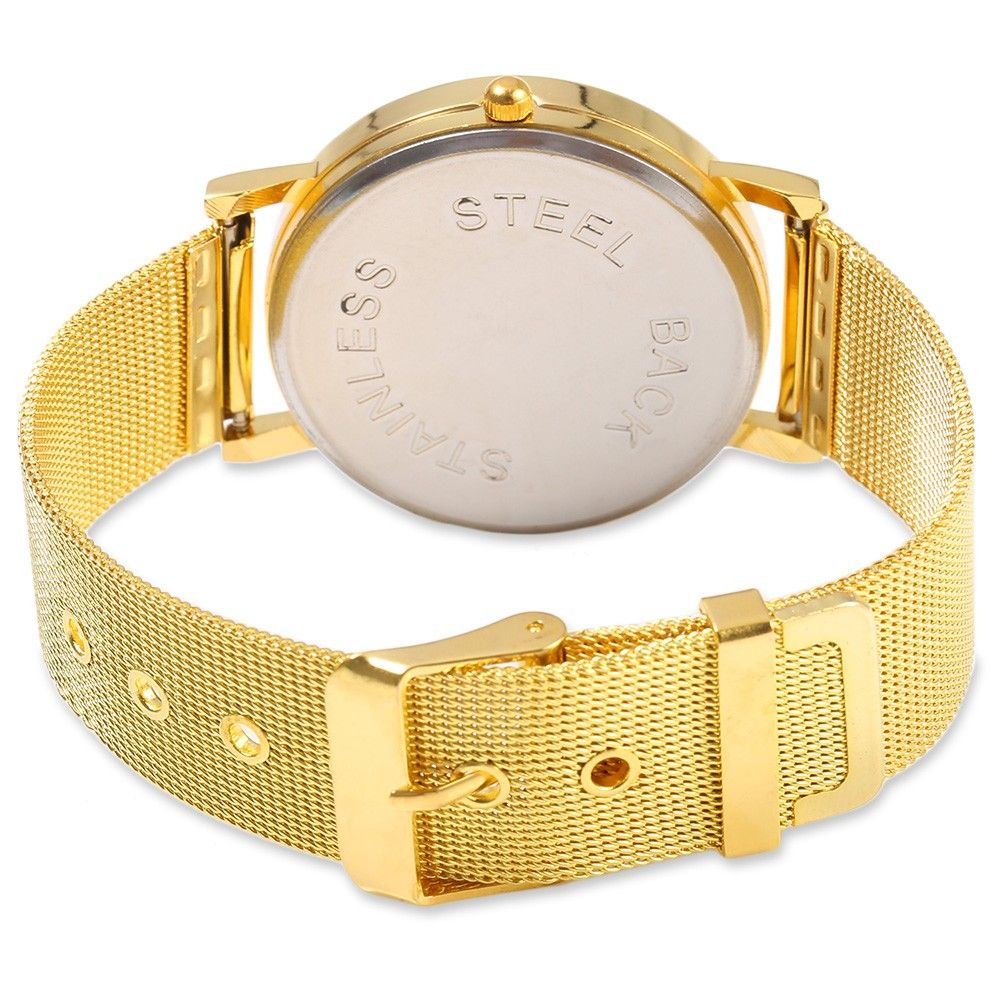 Geneva 433 Female Quartz Watch with Decorative Sub-dial Golden Watch Case