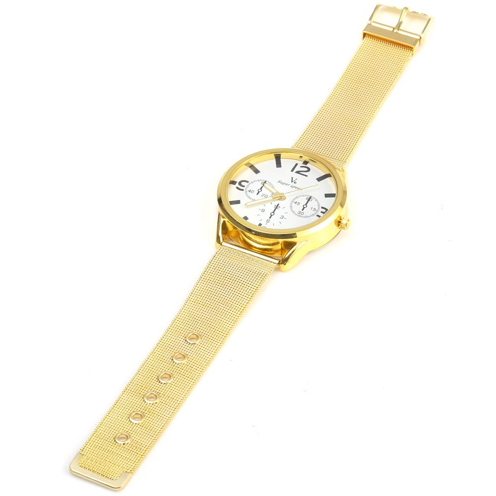 V6 0441 Quartz Watch with Decorative Sub-dial Golden Watch Case for Men