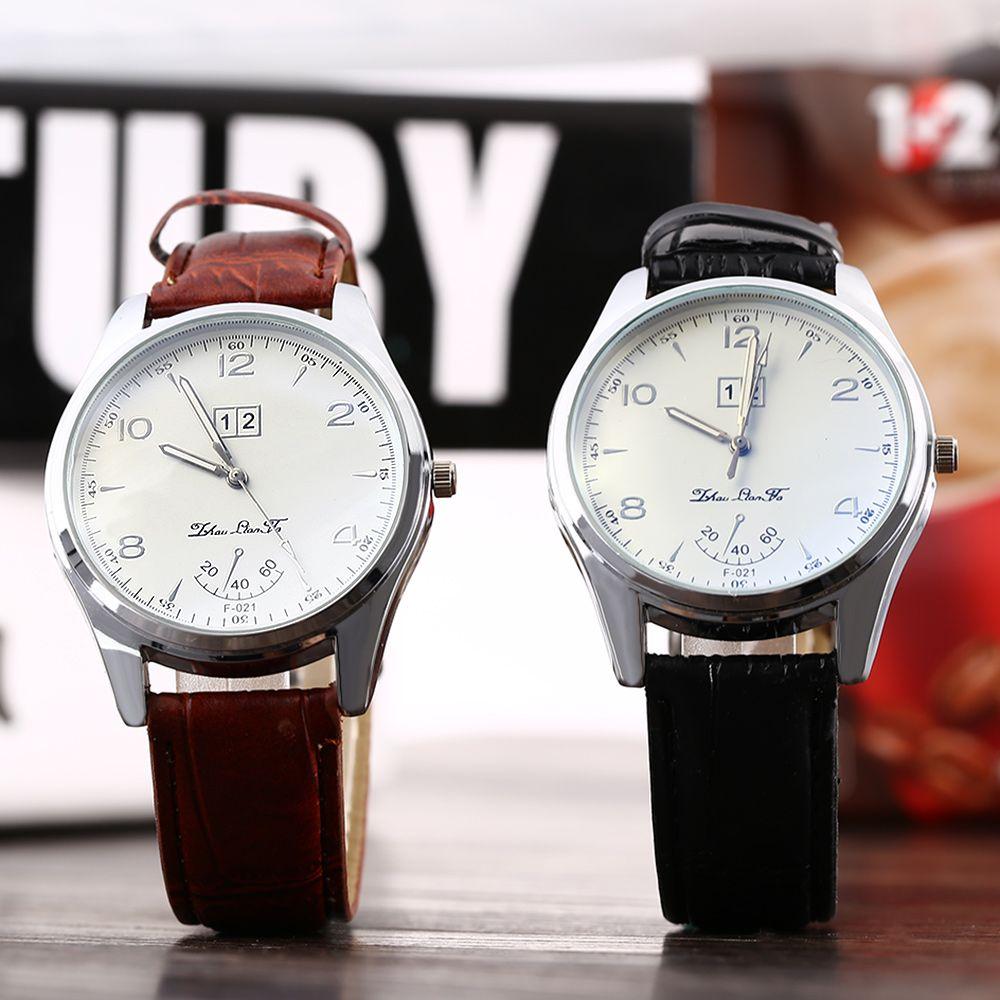 Male Quartz Watch Luminous Points Water Resistance Leather Band Wristwatch