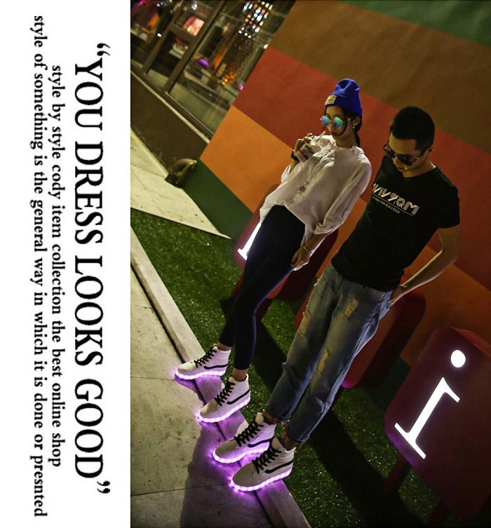 Unisex Charging Colorful Shining LED Shoes with Hiddened USB Interface
