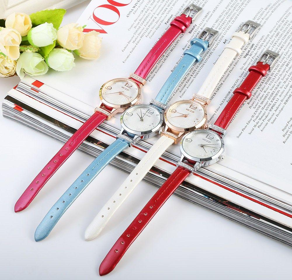 KEZZI 1263 Women Quartz Watch Fashional Analog Wristwatch Leather Band