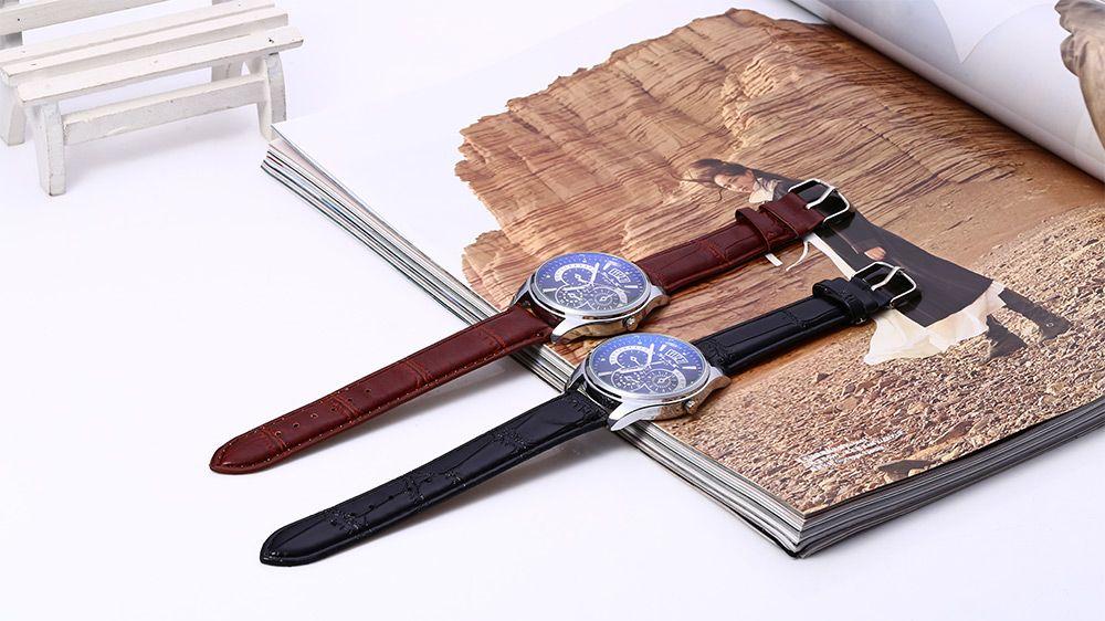 Male Quartz Watch Luminous Pointer Working Sub-dials Water Resistance Wristwatch