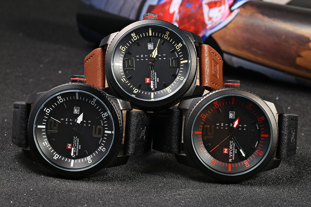 NAVIFORCE 9063M Male Quartz Watch Black Case Watch Resistance Wristwatch