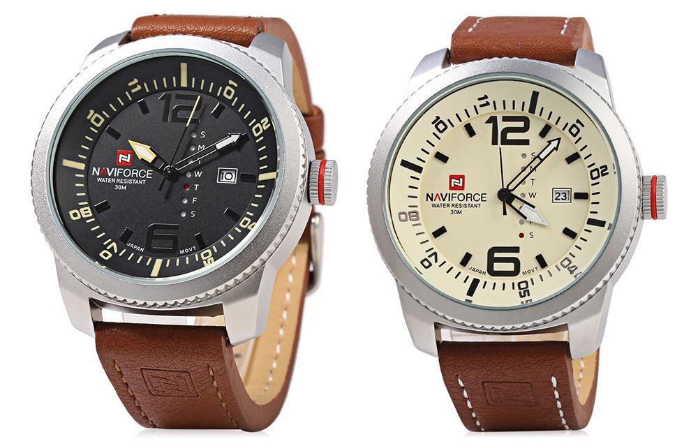NAVIFORCE NF 9063M Male Quartz Watch Silver Case Watch Resistance Wristwatch