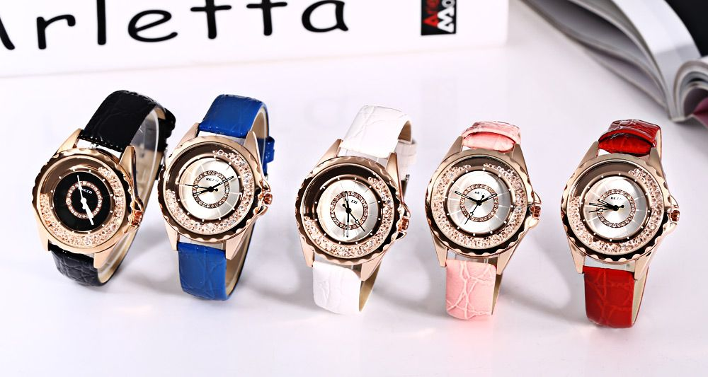 KEZZI K - 742 Women Quartz Watch Artificial Diamond Dial Wristwatch