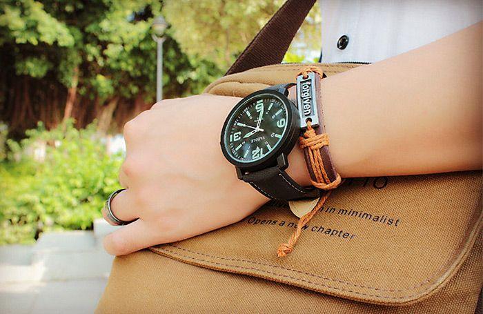 Yazole 319 Arabic Number Three Scales Luminous Male Quartz Watch PU Band
