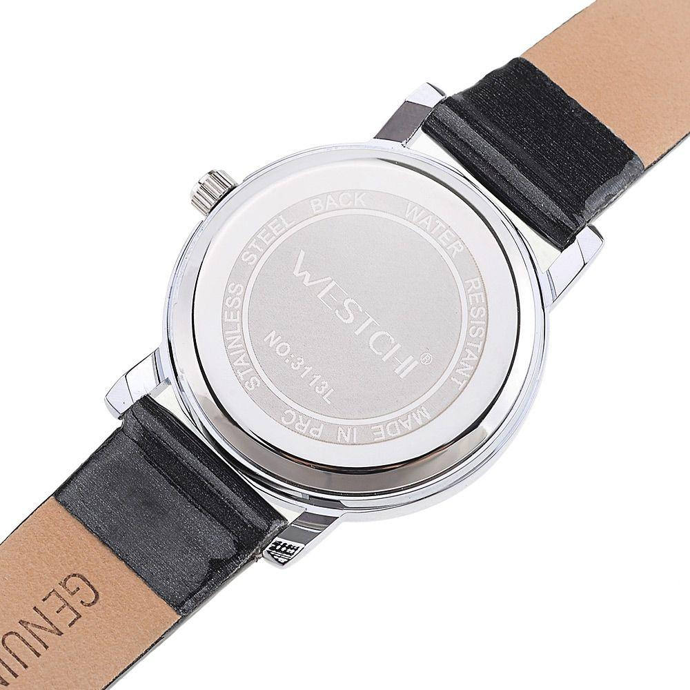 WESTCHI 3113L Diamond Scale Female Quartz Watch Genuine Leather Band