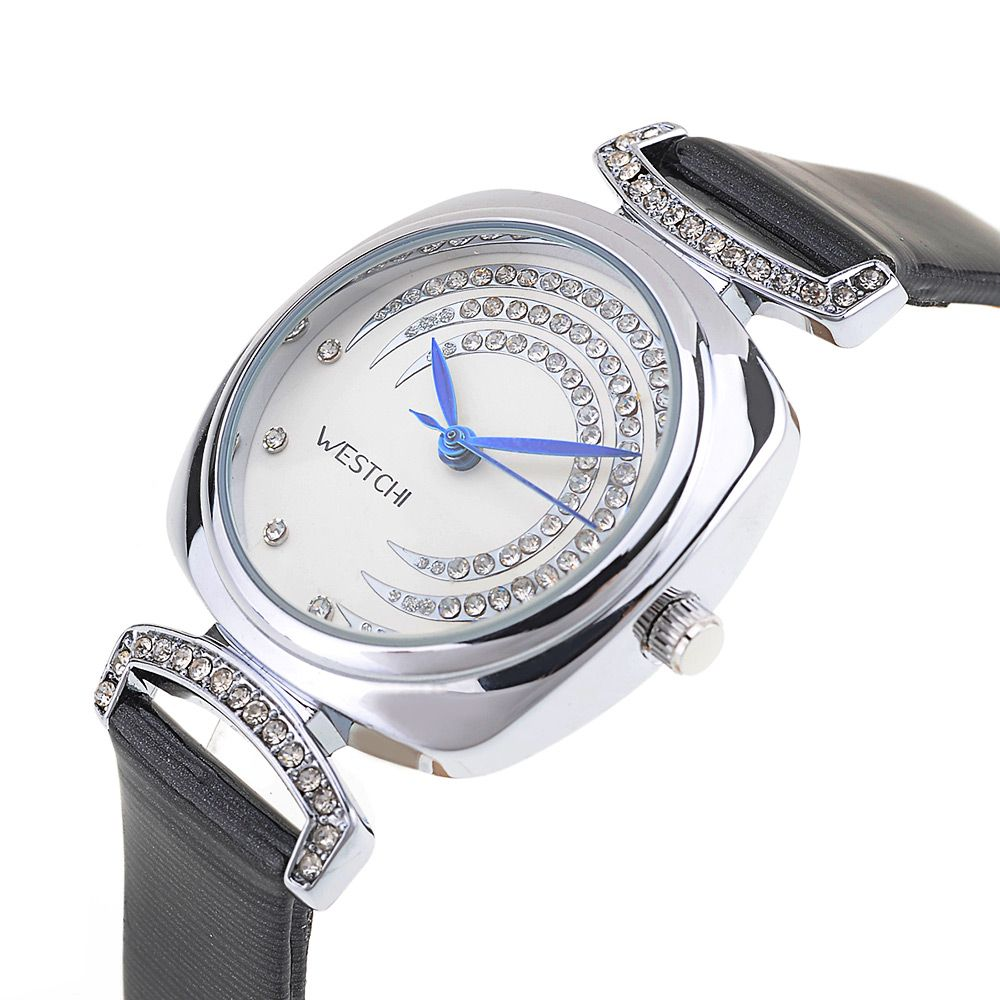 WESTCHI 3117L Water Resistance Diamond Decoration Female Quartz Watch Genuine Leather Band